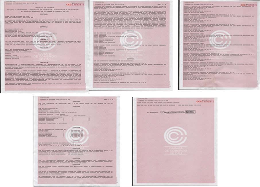 Certificaciones Camara de Comercio de Cali